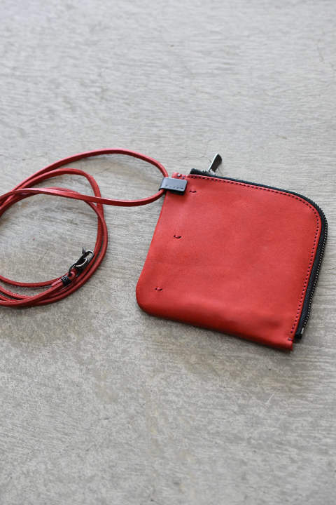 "Compact Wallet""Leather String""/Red コンパクトウォレット""レザーコード""レッド"