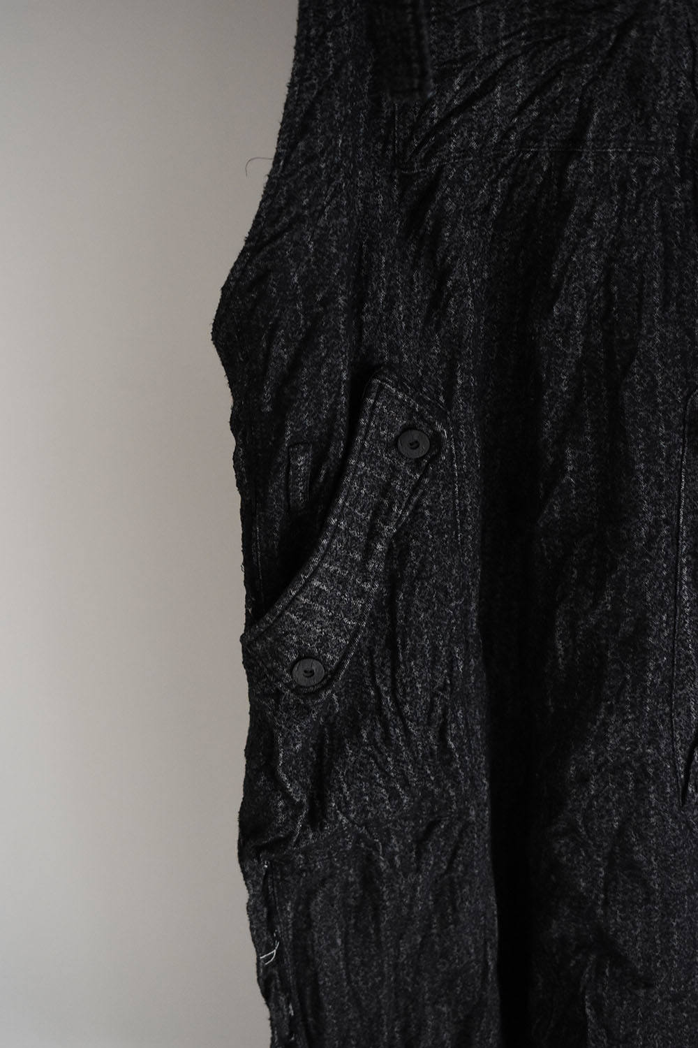 "《ラスト1点!!》Crease Process Overalls""Black×Stripe"""