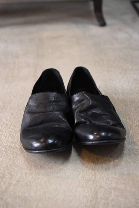 "LAUF RE WAXED""Slip Shoes""Black"