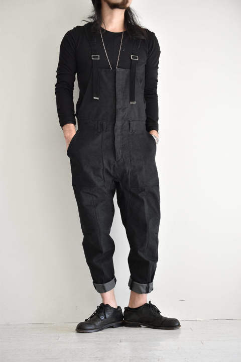 "Heavy Canvas Tapered Cropped Overall""Black""/ヘビーキャンバス テーパードクロップドオーバーオール""ブラック"""