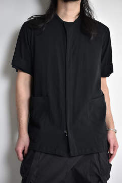 "Double weave Short Sleeve Shirts""Black""/強撚2重織シャツ""ブラック"""