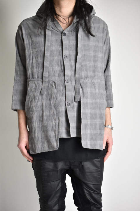 "Dyed Check Hoodie Shirts""Grey""/コールドダイチェックフーディシャツ""グレー"" ag-1909 A.F ARTEFACT"