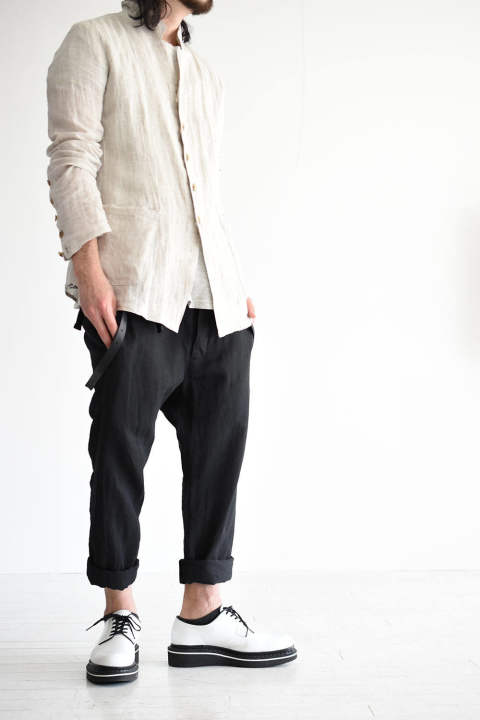 "nude:mm""Linen Canvas High Waist Pants""残り1点となりました。"